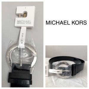 NWT Michael Kors Silver Horseshoe Buckle Logo Belt